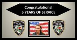 CRIME SCENE SUPERVISOR COLLEEN COPPOLA'S 5 YEARS OF SERVICE WITH THE SEBASTIAN POLICE